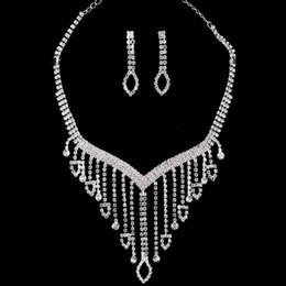 2019 conjuntos de jóias de fantasia para casamentos Tassel Oco Geométrica Rhinestone Brincos Colar Conjunto De Jóias De Noiva De Casamento Novo