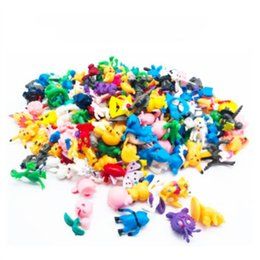 Japanese toys online-Pocket Monster Figuras Pikachu Anime Toys 144 unids estilo estatuilla japonesa Figuras Artículos de decoración Muñeca Lot para niños Fuente del partido