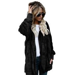 Обратимые покрытия онлайн-Women clothes Fashion Winter Spring Autumn Women Long Reversible Thick Cotton Artificial Faux Fur Jacket Hooded Coat
