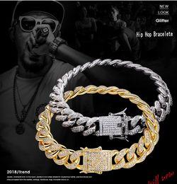 platin überzogene armband smaragde Rabatt 2019 neue Ankunft Heißer Verkauf Hip Hop Vintage Schmuck Echt 18 Karat Weißgold Füllen Kubanisches Armband Pflastern 5A Zirkonia Atemberaubende Männer Frauen Armband