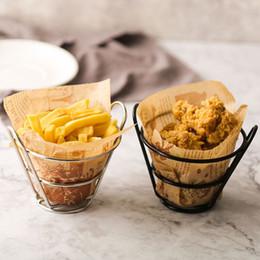 2019 francês, fritar, cesta Batatas fritas de Aço Inoxidável Stand Chips Cesta Snack Titular Fritas Fry Balde Aperitivos Fast Food Prateleira De Carne Bandeja QW9960 francês, fritar, cesta barato