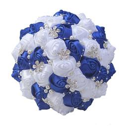 fã de ouro rosa Desconto Top Bridal Bouquet Wedding 2020 Decoração do casamento de alta qualidade creme roxo Artificial dama Flor Crystal Pearl Rose Silk