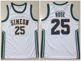 2019 klassischer basketball-trikot Simeon High School Derrick Rose Weiß Gelb Blau Retro Classic Basketball Jersey Mens Genäht Kundennummer Trikots rabatt klassischer basketball-trikot