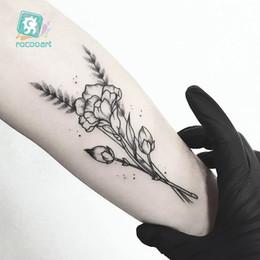 Argentina Rocooart HC-305 Diseño floral simple y negro en la muñeca Mano Cuerpo temporal Etiqueta engomada del tatuaje impermeable Taty falso cheap tattoo designs for wrist hand Suministro