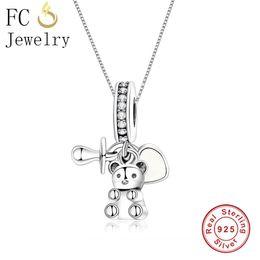 2019 chupete de plata FC Jewelry 925 Sterling Silver Bear Baby Treasure Nipple Pacifier Heart Colgante Collar Para Mujer Cadena Gargantilla Baratija 2018 rebajas chupete de plata