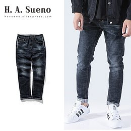 штаны для поддержки Скидка H.A.Sueno 2019 New Arrivals mens denim jeans Wholesale Mens long pants Hip Hop loose fit Harem pants drop shipping support /5