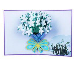 Tarjetas de felicitación tridimensionales online-Tarjeta de felicitación 3D ramo rosa con flores tarjeta de felicitación tridimensional tarjeta de felicitación hecha a mano GB666