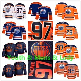 Camisa azul alaranjada do hóquei on-line-Juventude Mens Lady 2020 Third Edmonton Oilers Jersey Connor Mcdavid leon draisaitl Wayne Gretzky Navy Blue Orange Casa Fora Crianças Hockey Jerseys