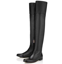 Sexy Haute Bottes Longues Nouveau 2019 Femmes Moto Bottes Longues Couleur Noire Classique Bout Pointu Haut Plat Mode Casual Bottes Longues Chaussures D'hiver ? partir de fabricateur