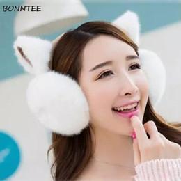 2019 schwarzes fauxpelzstirnband Ohrenschützer Frauen Plus Samt Warm Allgleiches Kawaii Katze Ohren Baumwolle Plüsch Frauen Ohrenschützer Hohe Qualität Koreanischen Stil Ohrwärmer