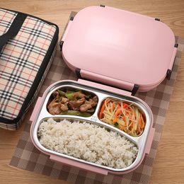 Contenants à lunch en acier en Ligne-304 Boîte À Lunch Thermos En Acier Inoxydable pour Enfants Gris Sac Ensemble Bento Box Conteneur Alimentaire Japonais Conteneur Alimentaire Thermique Lunchbox C18112301