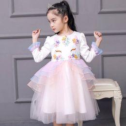 d9c79636b405 Unicorn Girls Dresses long sleeve Girls Princess Dresses tutu Party Dresses  Boutique Girl Clothes kids designer clothes kids clothing A2939