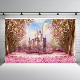 2019 tecido de vinil azul Cereja rosa flores primavera fotografia pano de fundo arco-íris conto de fadas castelo chá de bebê crianças princesa foto fundo S-2711