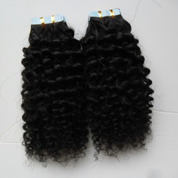 black blonde human hair Promo Codes - kinky curly Skin Weft Human 100G 40PCS Tape In Human Hair Blonde Invisible Black Real Hair 1 bundle Remy Hair Brown