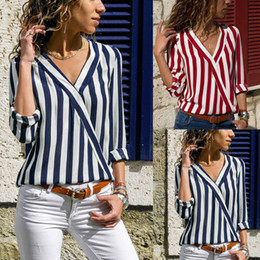china ladies top clothing Promo Codes - Hot selling Women clothes Ladies Blouses Shirts Striped Cross V neck Long sleeve Ladies Tops China Supplier Free DHL