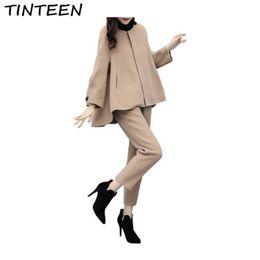 888b5951fc 2019 pantalones de lana TIENEEN 2018 otoño e invierno de gran tamaño de dos  piezas pantalones