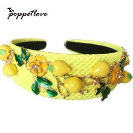 Baroque Fashion Runway linda flor de limón amarillo hojas verdes diadema para mujeres lujo Vintage Wideside accesorios para el cabello joyería Y19051302 desde fabricantes
