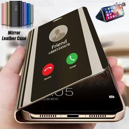 2020 custodia in pelle smart phone Astuto di lusso Clear View specchio di placcatura della cassa del telefono del cuoio di vibrazione della copertura della cassa IPhone XS Max 7 7plus 8 Plus X XR 6 6s più sconti custodia in pelle smart phone