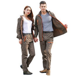 Пары спортивной одежды онлайн-New Couples quick-drying breathable jacket pants suit outdoor sports ultra-light hiking men and women sportswear hoodie suit
