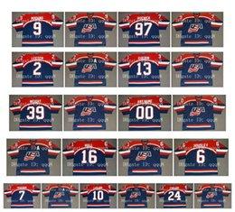 2019 camisetas olímpicas de estados unidos Vintage 2002 Team USA Olympic Jerseys 9 MIKE MODANO 97 JEREMY ROENICK 2 BRIAN LEETCH 13 BILL GUERIN 39 DOUG WEIGHT Jersey de hockey personalizado azul camisetas olímpicas de estados unidos baratos