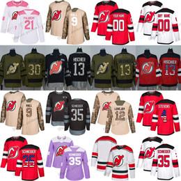 36f8641f4 Custom New Jersey Devils Jersey 9 Taylor Hall XS-6XL 13 Nico Hischier 30  Martin Brodeur 35 Cory Schneider Red Hockey Jerseys White Pink