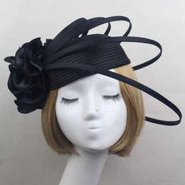 Signore nero   avorio   viola raso fiore cappello fascinator vintage moda  donna festa di nozze elegante fascinators accessori per capelli d19011102  annata ... 54c9ca591f89