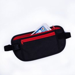 Невидимая талия онлайн-Black Ultra-thin Waist Packs Pouch for Phone Money Invisible Belt Bag Fanny Hidden Security Wallet NEW