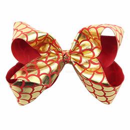 Laço de pesca on-line-Sereia Peixe escala Bowknot Hairpin 6 polegadas jojo Ins Fita Arco bebê Meninas Barrettes Crianças Bow-tie Crianças Primavera Headwear AAA1861