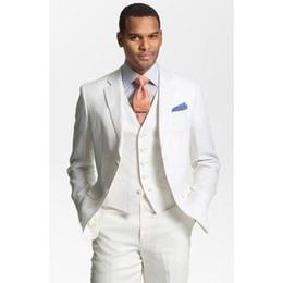 Мужские льняные смокинги онлайн-Custom Made ivory Linen Suits Mens Formal Skinny Summer Beach Simple Wedding Tuxedo 3 Piece Men Suit (Jacket+Pants+Vest)