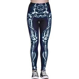 b90ad702089dac pants skeleton woman Canada - Sexy Women Sports Yoga Pants Skeleton Print  Fitness Trousers Stretch Leggings