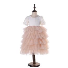 Saias de bolha do bebê on-line-Saia da bolha / 2019 Baby Girl Lace Dress Backless Bordado Crianças Festa de Princesa Do Casamento Da Flor Vestidos Saia da Bolha Da Menina Plissada vestido de Baile D