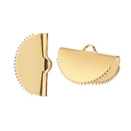 Зажим 15 мм онлайн-15 мм / 20 мм золотой тон нержавеющей стали ожерелье браслет заканчивается шарик крышки Застежка шнур конец зажим обжимной 10 шт./лот