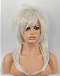 Peluca blanca larga recta completa online-WIG envío gratis Silver White Natural Fluffy Women Long Straight Wig Heat Fancy Dress Full Hair