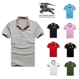 Top brand t shirts men famous on-line-Nova moda mens camiseta verão curto top quality algodão polo camisas designers famosos marca slim fit camiseta homens