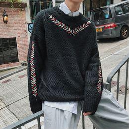 c87496abac485 Invierno nuevo suéter de los hombres de la manera caliente de la flor  bordado o-cuello de manga larga jersey de hombre suelto casual ropa  masculina