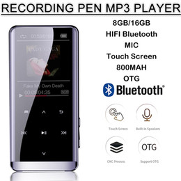 Lettore mp3 otg online-OTG Lettore MP3 Voice Recorder Bluetooth 4.2 dello schermo di tocco 1.8inch portatile HIFI 5D Music Player 8GB / 16G ultra sottile MP3 FM