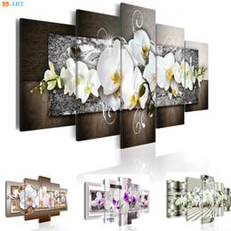 fotos de flores de orquidea Rebajas Orquídeas Flores Impresiones Pintura Mural 5 Unidades Floral Cartel Moderno Arte de la Lona Imágenes Modulares para la Sala de estar Decoración para el hogar