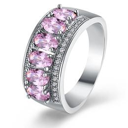 2019 anillos de boda baratijas Garilina Lindo abalorio de joyería Rosa CZ Anillo para mujer Plata Fille Anillos de boda Anillo de aniversario accesorios de boda R2165 anillos de boda baratijas baratos