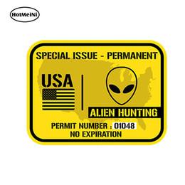 autocollants étrangers de voiture Promotion vente en gros 20pcs / lot voiture style États-Unis Alien permis de chasse - imprimé autocollant de vinyle autocollant de voiture Ufo imperméable accessoires 13cm x 9cm
