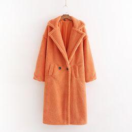 abrigo de lana rosa con volantes Rebajas Escudo Otoño Invierno Mujeres Orange peluche con estilo femenino caliente grueso de la cachemira chaqueta informal niñas Streetwear