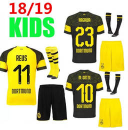 Crianças borussia on-line-Borussia Dortmund KIDS camisa de futebol 2018 2019 BVB MAILLOT DE FOOalit REUS PULISIC 2018/19 camisas de futebol Dortmund kit KIDS com meias