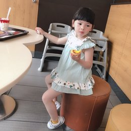 colore camicia verde stile Sconti Neonati Abbigliamento Bambini Spagna Stile estivo senza maniche camicia colore verde + abbigliamento corto imposta set di abbigliamento principessa estate