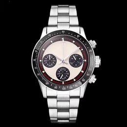 Marcas de relógios japonês on-line-Cronógrafo dos homens de luxo Perpétuo Paul Newman Vintage Japonês Aço Inoxidável Quartzo Meless Aço Marca de Moda Relógio de Pulso dos homens,