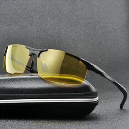 anti-glare-gelbe polarisierte sonnenbrille Rabatt Nachtfahrbrille-Semi Polarized Yellow Lens Vision Blendschutzlinse UV400 Aluminium Magnesium Metallrahmen Sonnenbrille FML