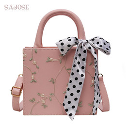 ribbon embroidery hand bags Coupons - Fashion Women Handbags PU Leather Totes Bag Lace+Ribbons Top-handle Embroidery Messenger Shoulder Bag Lady Simple Style Hand