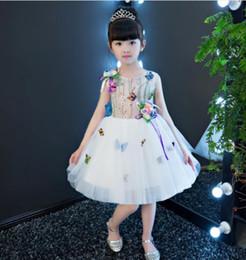 vestidos de tutú para niñas 12 años Rebajas 2019 recién llegado de gasa blanca flor princesa vestido de niña fiesta de bautismo boda cumpleaños vestido niños tutu vestidos 1-12Y