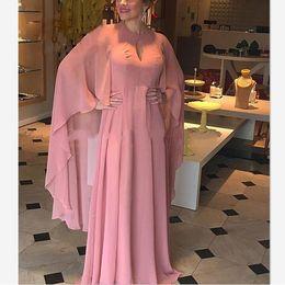 Manga larga vestidos de novia capa online-2019 elegante elegante cabo manga larga vestido formal Robe de soiree madre de los vestidos de novia para la boda