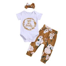 Deutschland Ins 2019 neue sommer neugeborenes baby kleidung baby anzug infant outfits baumwolle baby strampler + bögen stirnband + pluderhosen mädchen sets supplier baby harem romper Versorgung