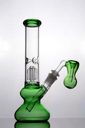 2020 tubos de agua de cristal de china Cachimbas de vidrio de color verde morado negro con tubo de agua por vástago descendente plataforma de limpieza de borbones de porcelana china con plataforma de reciclaje de aceite de 14 mm tubos de agua de cristal de china baratos