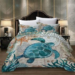 2019 láminas de poliéster satinado Juego de cama de animales de la boda del pulgar King Size Tortoise Duvet Cover 3D Twin Full Queen Single Double Sea Funda de cama decorativa con funda de almohada